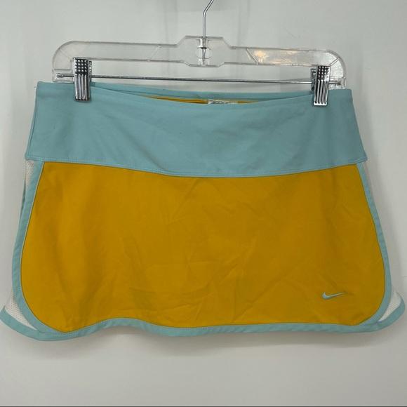 Nike fit dry tennis skirt yellow blue 203204 Sz S